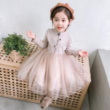 Girls Dress Fake Two Patchwork Girls Mesh Winter Dresses Pink Gray Long Sleeve Girls Dresses For Party And Wedding 2020 Fashion