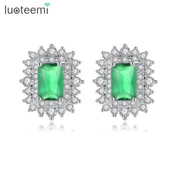 LUOTEEMI Fashion Geometric Cubic Zirconia Paved Stud Earrings for Women Costume White Gold Color Wedding Party Earring Oorbellen