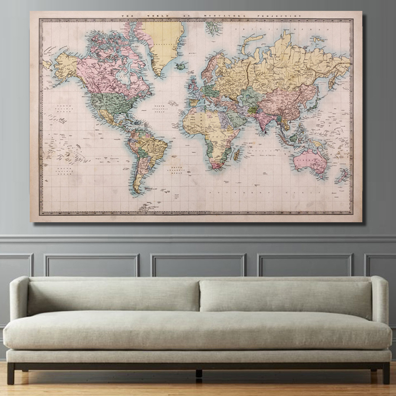 RELIABLI ART A Map Of The World Canvas Paintings Wall Art Pictures For Living Room Posters And Prints Home Decoration Unframed