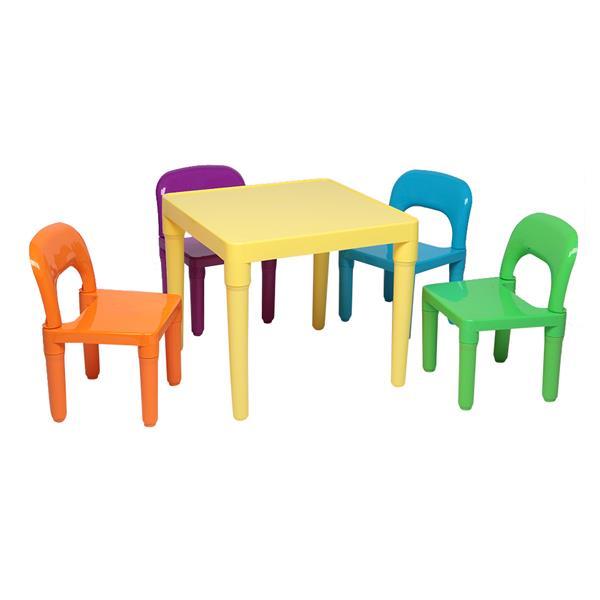 Пластиковый набор для стола и стула для детей/Детские мебельные гарнитуры обеденный детский стул и стол для учебы, 1x стол + 4x стулья