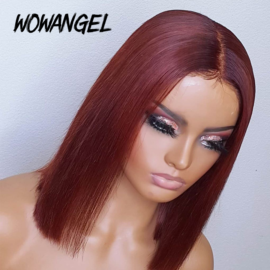 Burgundy 99j 13x6 Lace Front Human Hair Wig 150% Remy Deep Middle Part Brazilian Hair Full Straight Short Bob Wig PrePlucked