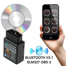 ELM327 V2 1 OBD2 II Bluetooth samochodów Auto diagnostyczne dla KIA RIO Ford Focus Hyundai IX35 Solaris Mitsubishi ASX Outlander Pajero tanie tanio CN (pochodzenie) 1inch Plastic Testery do baterii 0 046kg