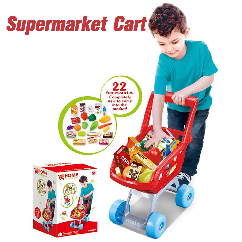 22Pcs/Set Kids Supermarket Shopping Groceries Cart Trolley Toys With Drink Food Fruit Vegetable Sets  Educational Toys For Girls