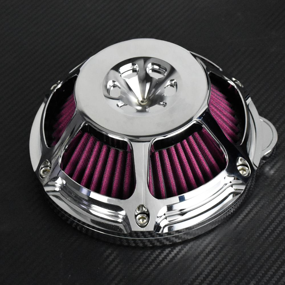 Image 3 - Motorcycle Chrome Air Cleaner Filter Intake Filter CNC For Harley Sportster XL883 48 Touring Dyna Super Glide Street Bob SoftailAir Filters & Systems   -