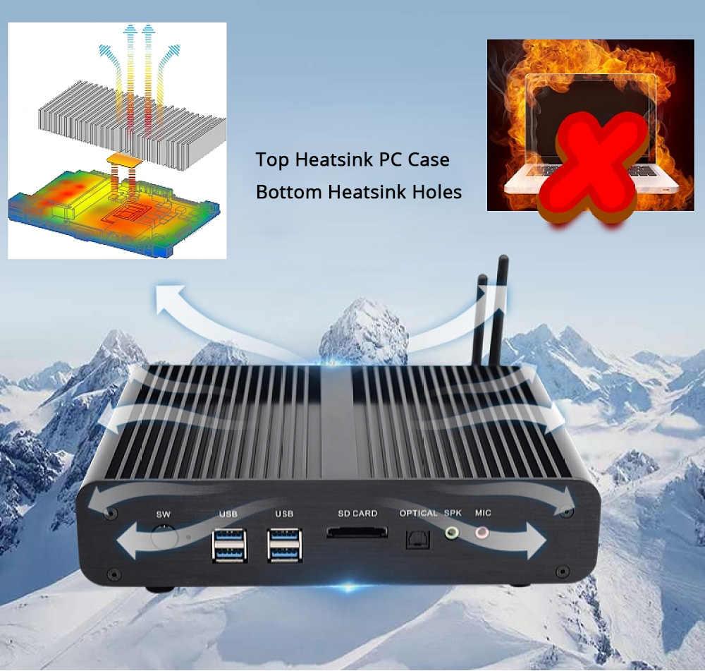 Hystou Quạt Không Cánh Mini Máy Tính Công Nghiệp Intel NUC Quạt Không Cánh Mini PC Window 10 Pro Core I7 5500U 2 Gigabit Lan Mini máy Tính Để Bàn 2LAN Wifi