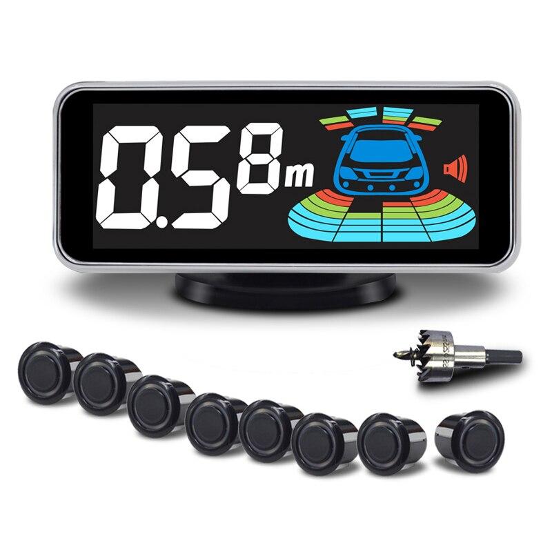 Купить с кэшбэком Car Parking Sensor Automobile Reversing Radar Parktronic 8 Sensors Electronics Auto Detector Backing Assistance Kit Voice Buzzer