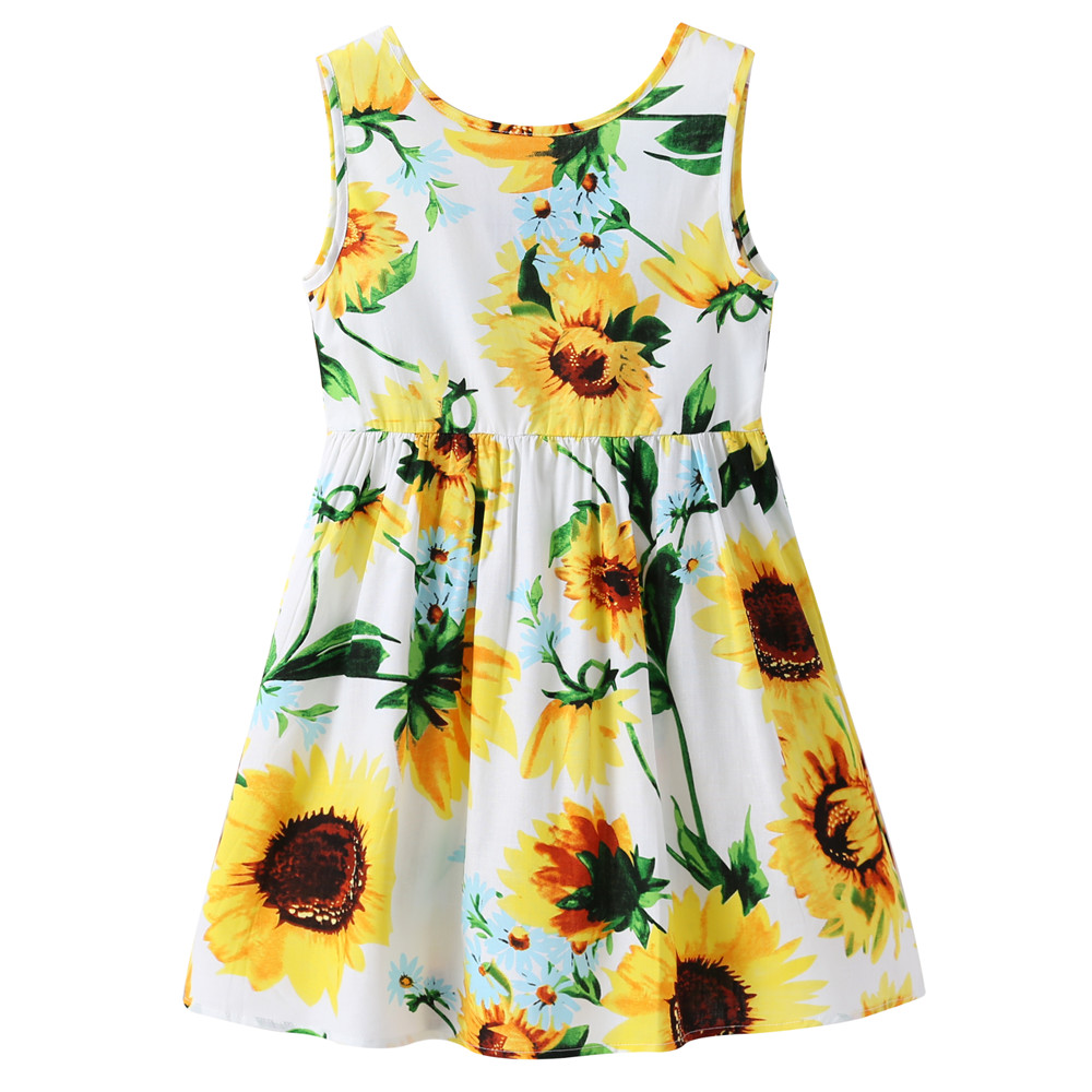 1-7 Years Baby Girls Sleeveless Flower Print Dresses Clothes Kids Summer Princess Dress Children Party Ball Pageant Dress Outfit 4