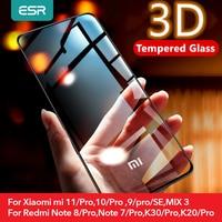 ESR para Redmi Nota 8 9 pro de vidrio para Xiaomi mi 11 10 9 Pro SE Ultra Redmi k30 k20 10T Pro Protector de pantalla de vidrio de la cubierta completa de la película