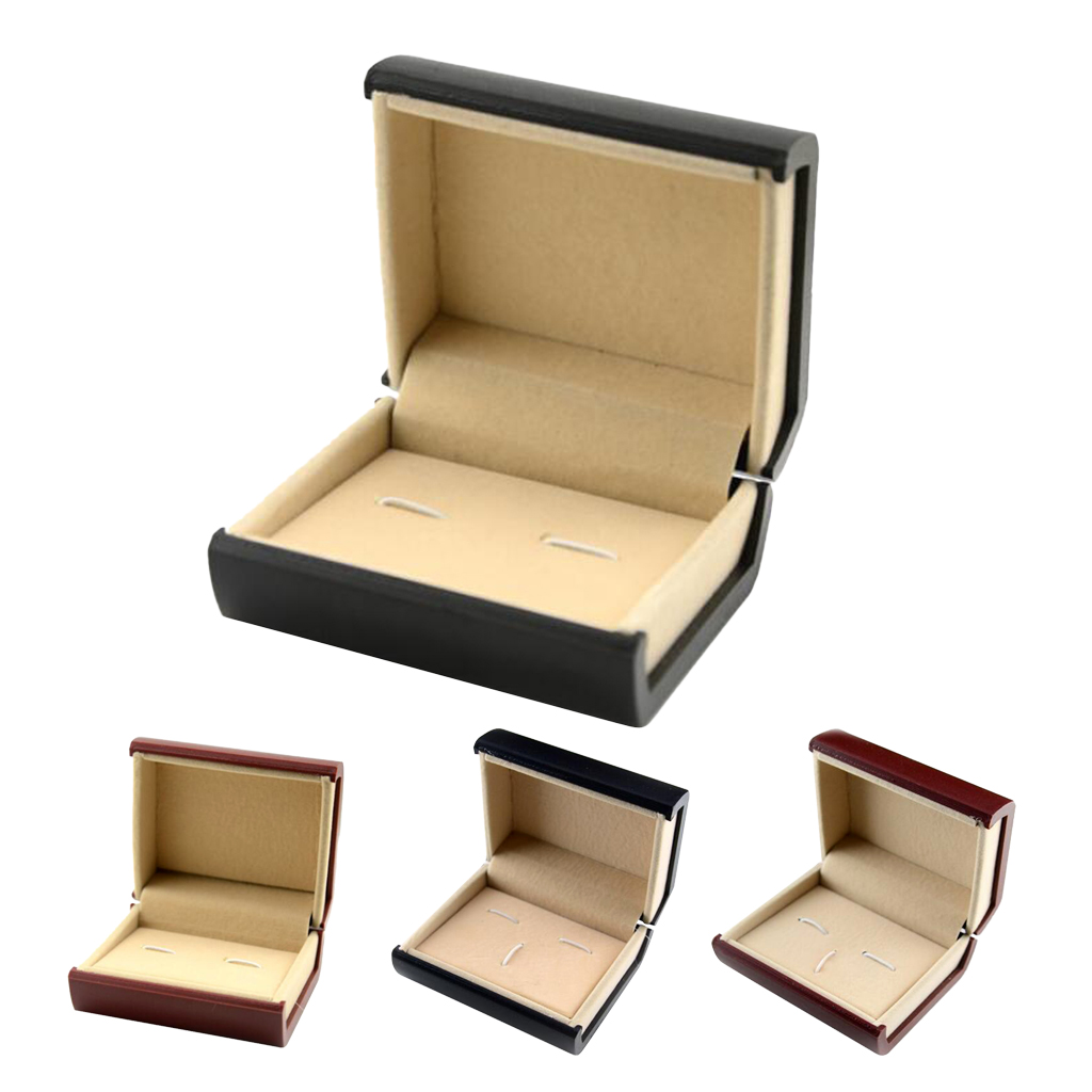 Soft Velvet Interior Jewelry Tie Bar Cufflinks Pair Wedding Party Storage Box Display Showcase