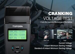 Image 3 - Topdon BT500P 12V 24V Auto Batterij Tester Met Printer Batterij Load Test Voor Motorfiets Auto Opladen Zwengelen Batterij analyzer