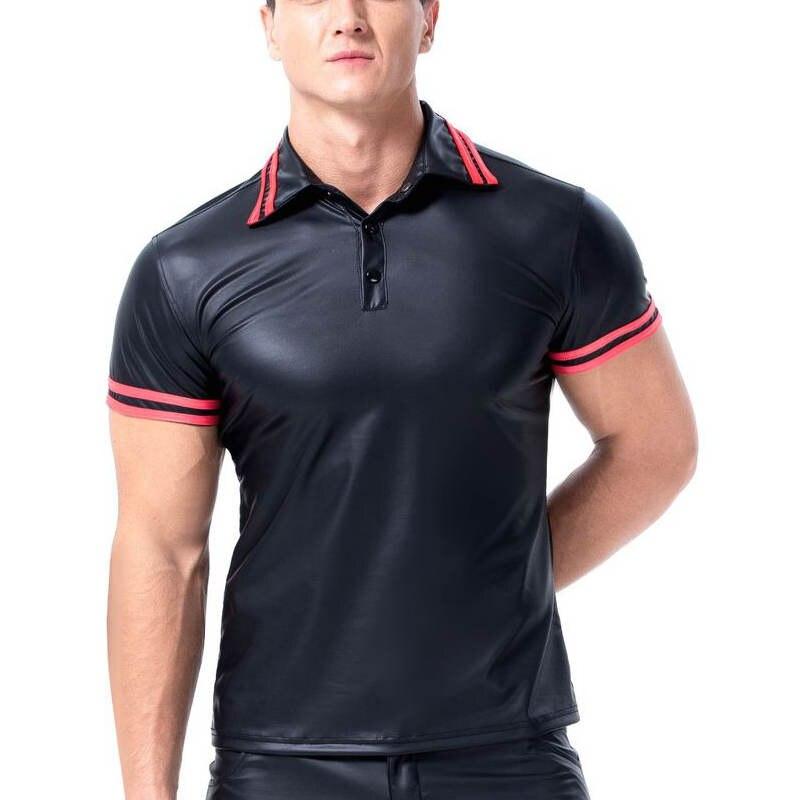 Undershirt Lingerie T-Shirt Wet Look PU leather Short Sleeve Slim Tops Club Wear
