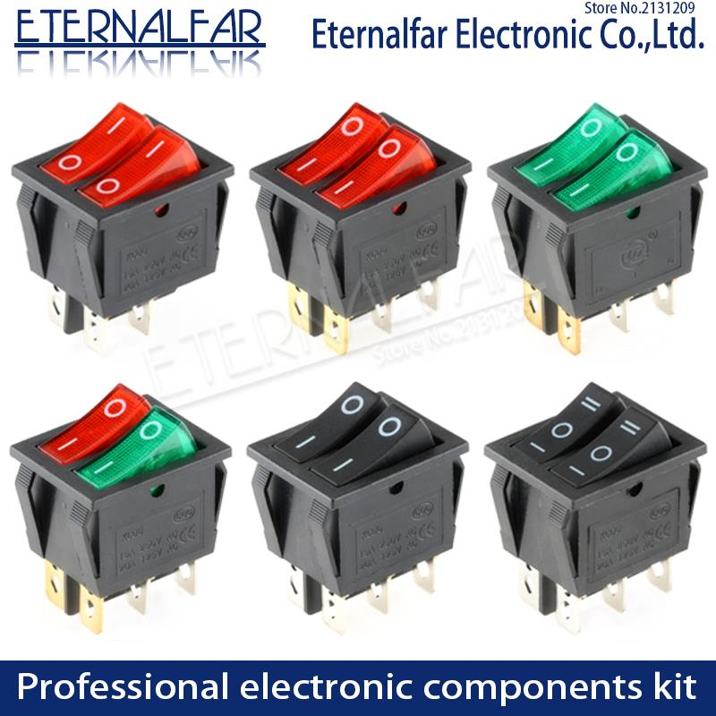 KCD6 16A 250V AC  Rocker Switch Boat Switch 6pins With Lamp ON-OFF Red The Electric Grill Green Electric Heater Double Ship Type