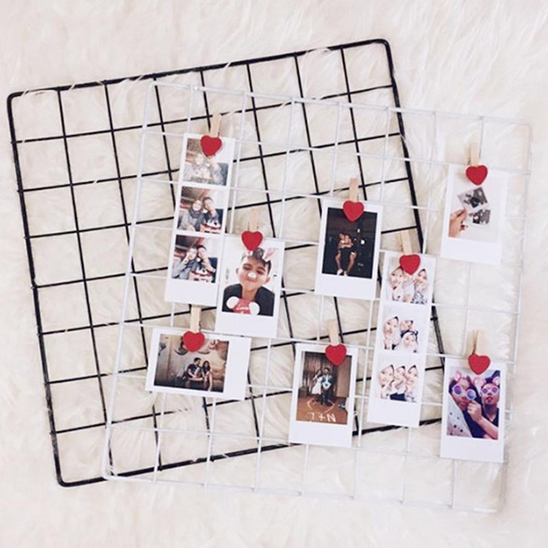 New 35x35cm Iron Lattice Photo Display Rack Frame Mesh Shelf Home Wall Decoration Unique DIY Room Decoration Bedroom Gifts Cafe