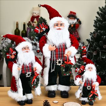 цена на Christmas Decorations 2021 High-end Simulation Santa Claus Figurine Window Scene Decor Creative Plush Santa Claus Toy Ornaments