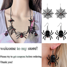 New Necklace Spider Necklace Large Size Spider Spidernet Pendant Jewelry Fashion Rhinestone Deco Personality Halloween Gifts rhinestone faux gem halloween spider brooch