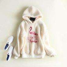 2019 Winter New Women Sweatshirt Thicken Plush Embroidery Hoodies Loose Casual Lantern Sleeve Sweatshirt