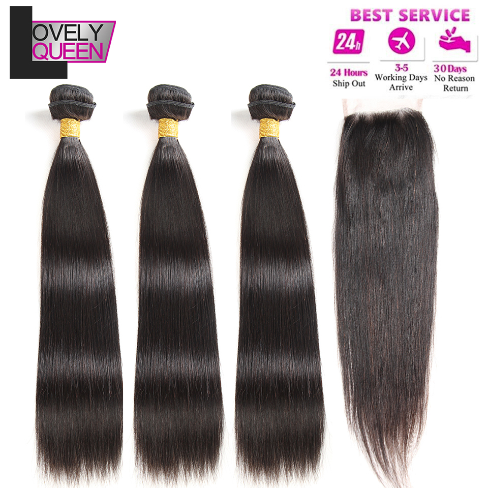 Mongolian Hair Straight Bundles With Closure 3 Bundles With Closure Non Remy Real Human Hair Bundles
