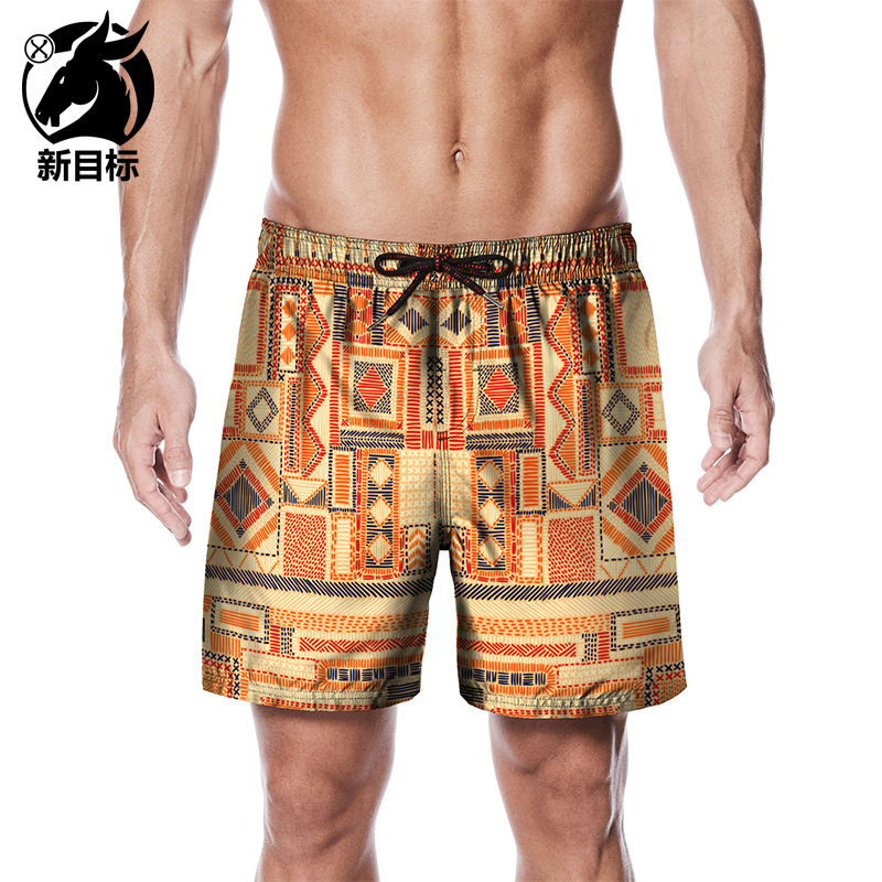 Peach Skin Beach Shorts Men's 2019 New Style Creative Check Print Quick-Dry Large Size Loose-Fit Beach Summer Shorts