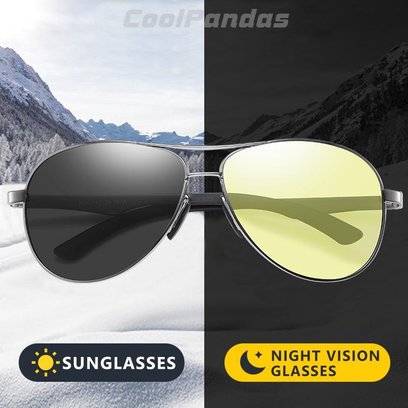 Photochromic Sunglasses Eyewear Driving Zonnebril Aviation Heren Day-Night-Vision UV400