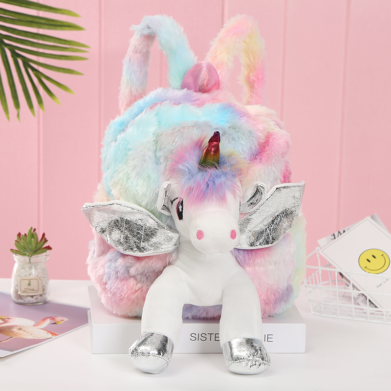 New Women Plush Unicorn Backpacks Cute Fashion Fur Backpacks For Girls Travel Backpack Children Schoolbag Kids Gift Book Bag