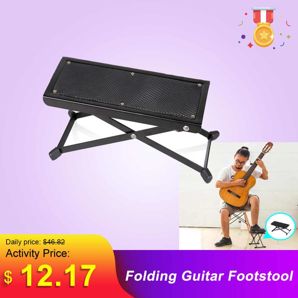 Lipat Logam Gitar Footstool Istirahat Anti-Slip Berdiri Tinggi Adjustable Kaki Penyangga Istirahat Kaki Ranjang untuk Alat Musik