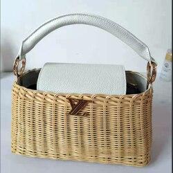 2019 neue leder handtaschen rattan tasche tragbaren umhängetasche handgemachte handtaschen frauen stroh tasche high-grade luxus designer tasche
