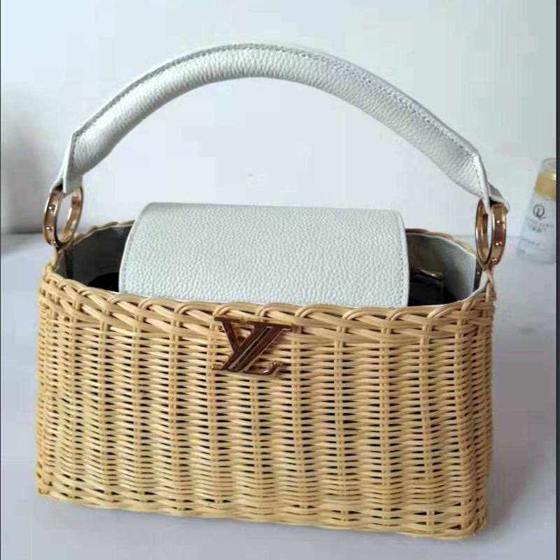2019 new leather handbags rattan bag portable messenger handmade womens straw high-grade luxury designer