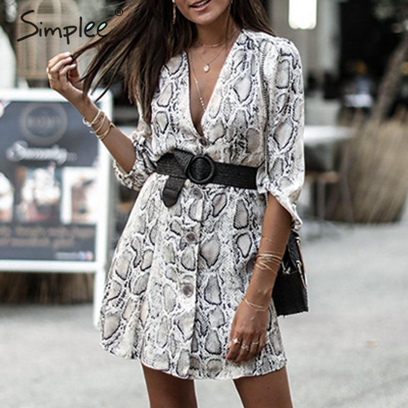 Simplee Snake Print Women Dress Plus Size V Neck High Waist A Line Summer Dress Casual Ladies Buttons Soft Spring Mini Dress