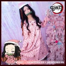 Japan Anime Demon Slayer Kimetsu No Yaiba Kamado Nezuko Cosplay Clothes for Women Christmas Pajamas Demon Slayer Cosplay Costume full set demon slayer kimetsu no yaiba kamado nezuko cosplay costume kimono wig geta shoes headwear japan anime halloween dress