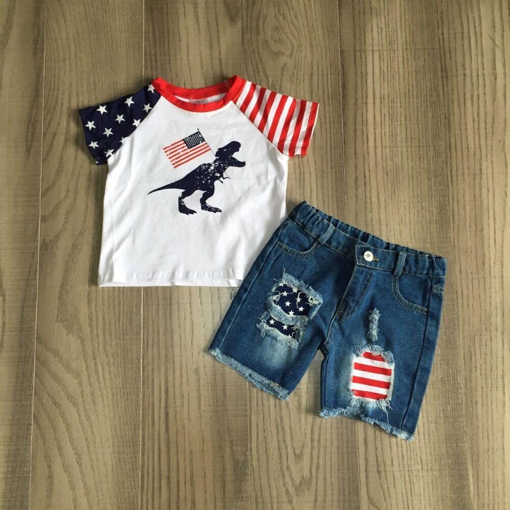 Baby Boy Summer Dinosaur Clothes Kids July 4th Outfits US Flag Jeans Shorts Boys Dinosaur Shirt