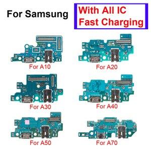 Image 1 - 1Pcs Usb poort Opladen Dock Connector Board Charger Flex Met Microfoon Voor Samsung Galaxy A10 A20 A30 A40 A50 a70 Reparatie Deel