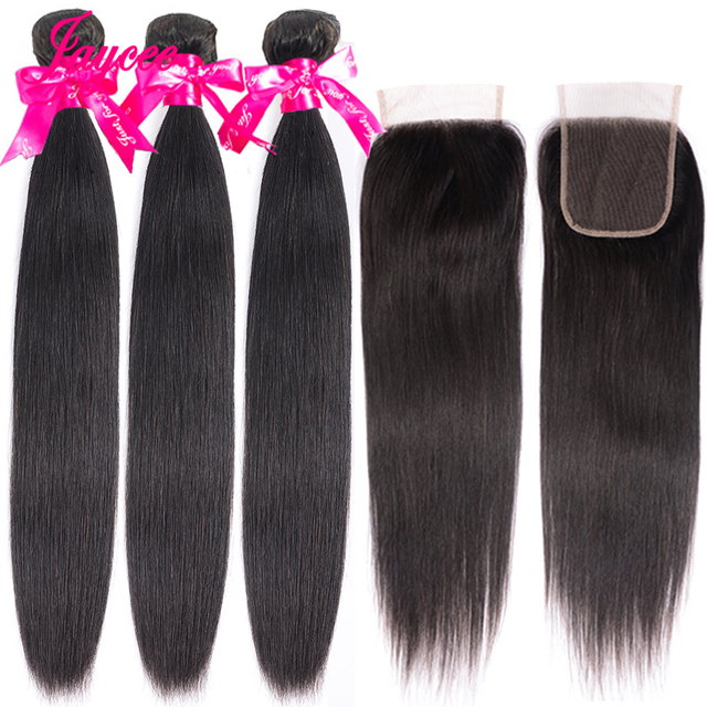 Jaycee Malaysian Straight Hair Bundles With Closure Remy Human Hair Maylasian Hair With Closure 3 Bundles with Closure