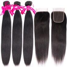 Jaycee מלזי ישר שיער חבילות עם סגירת רמי שיער טבעי Maylasian שיער עם סגירת 3 חבילות עם סגירה