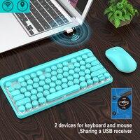 2.4G USB Keyboard Mouse Set Ultra Thin Gaming Ergonomic Portable Wireless Multimedia Buttons Punk Key Sensitive ABS Waterproof