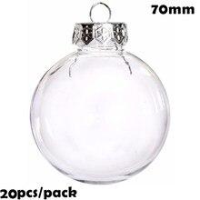 Promoção-20 peças x diy paintable/inquebrável limpar decoração de natal ornamento 70mm plástico bauble/bola