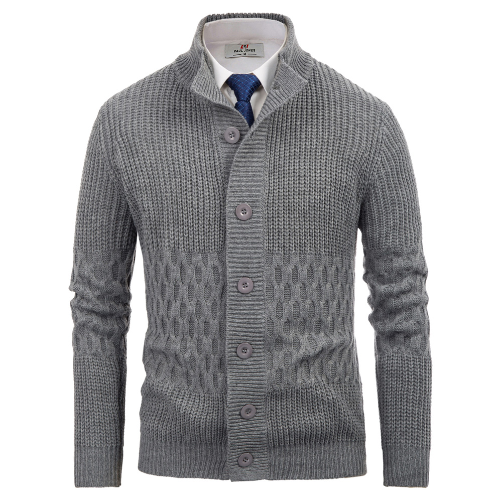 Men Sweaters Fashion Long Sleeve Plaid Checks Mens Stand Collar Pullover Loose Solid Button Fit Male Knitting Cardigan