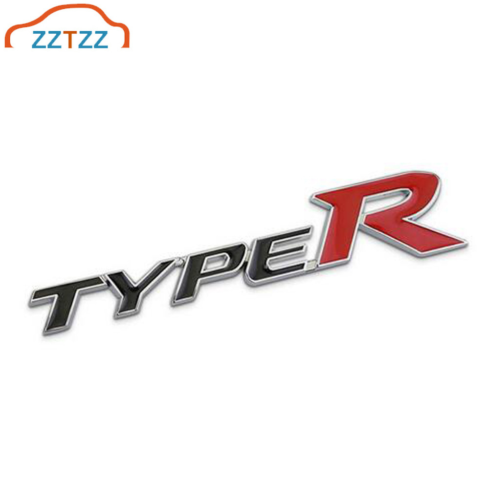 Type-R Car Chrome Badge Emblem 3D Look Honda Civic Self Adhesive
