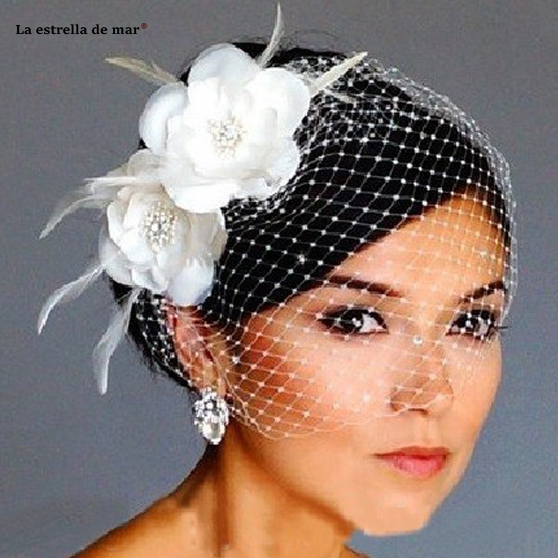 Hot Sale Bird Cage Veil Wedding Veil Birdcage Veil Netting Face Short Feather Flower White Fascinator Bride Hats With Veil