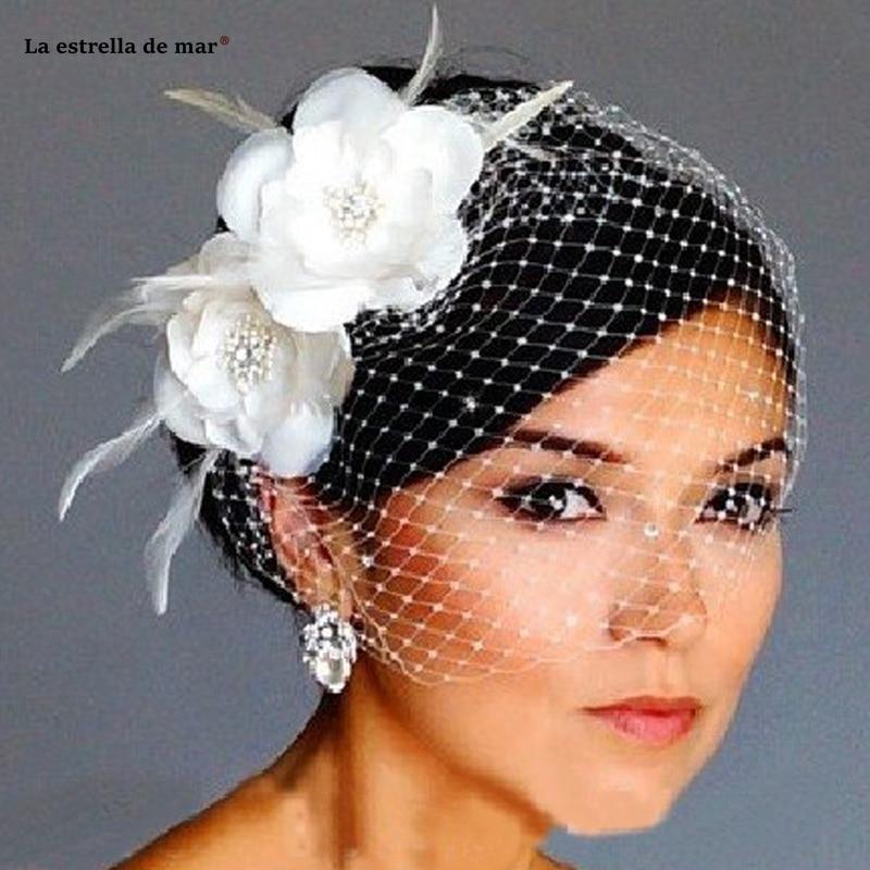 Hot Sale Bird Cage Veil Wedding Veil Birdcage Veil Netting Face Short Feather Flower White Fascinator Bride Hats With Veil