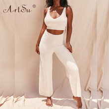 ArtSu Sexy 2 Piece Set 2020 Fashion Women Plush Fluffy Tank Top And Long Pants Set Casual Homewear Outfits White Pink Summer(China)
