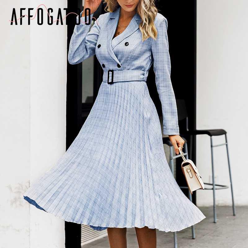 Affogatoo elegancka podwójne piersi biuro panie niebieska sukienka kobiety skrzydeł kratę marynarka sukienki damskie z długim rękawem plisowane vestidos