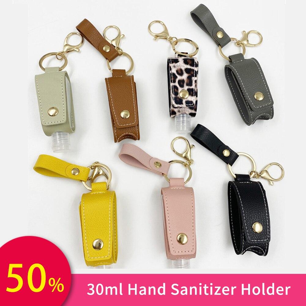 30ml Mini Hand Sanitizer Holder Split Bottles Portable Detachable Cover Leather Bath Shower Keychain Hand sanatizer dispenser 1