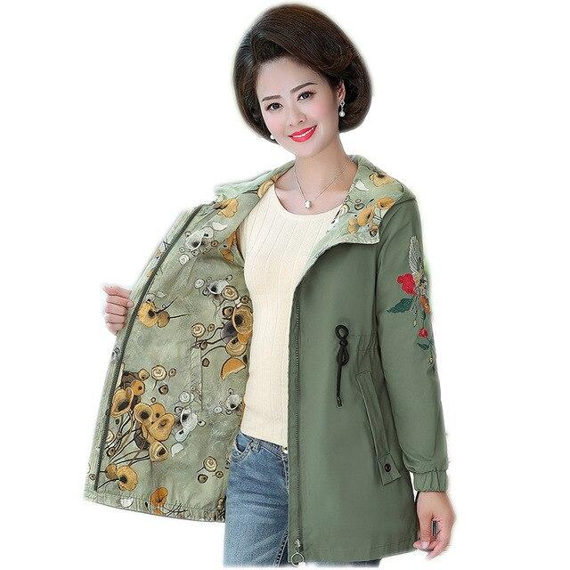 2020 Women Jacket Two Side Wear Female Jacket New Autumn Emboridery Coat Plus Size Hooded Windbreak Zipper Jacket Coats Pocket 3
