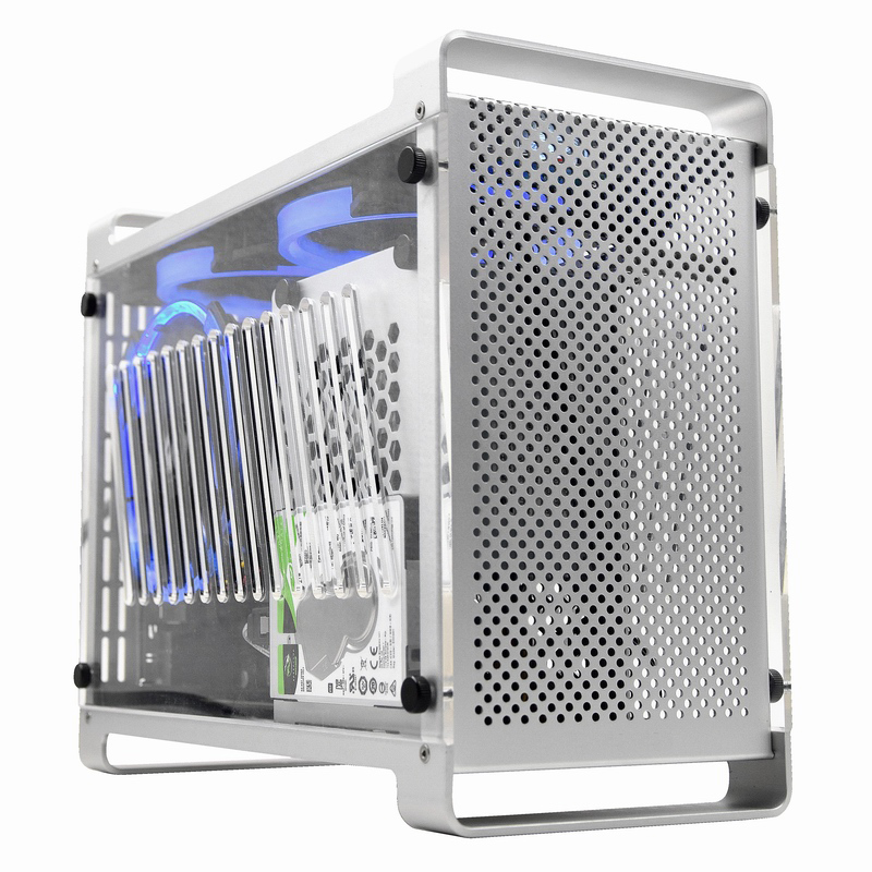 Aluminum ITX Case Side Transparent Mini Cooling Case Computer Case Desktop Supports SFX Power Supply