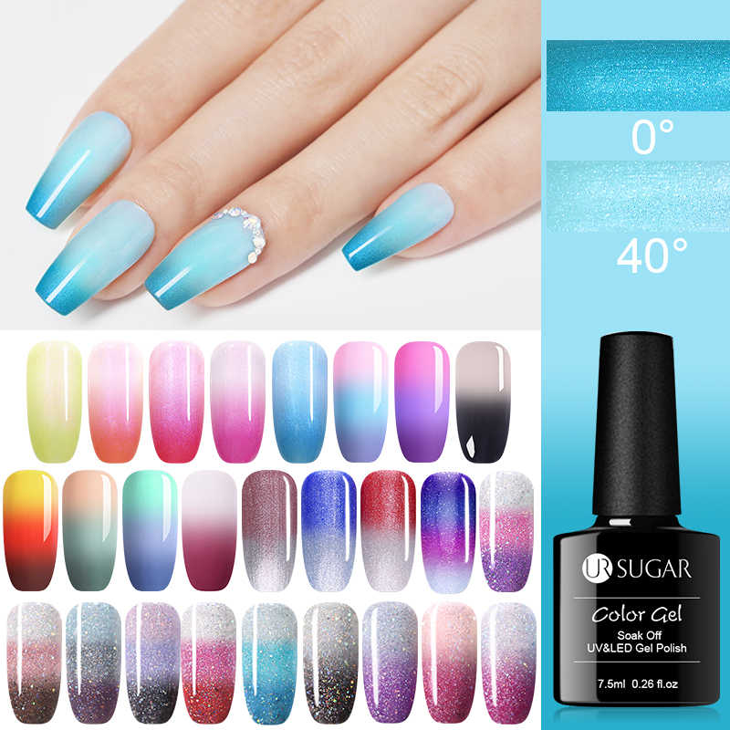 UR Gula 7.5 Ml Mutiara Shell Warna Berubah Panas Kuku Gel Polandia Glitter Suhu Rendam Off UV LED Gel Varnish nail Art