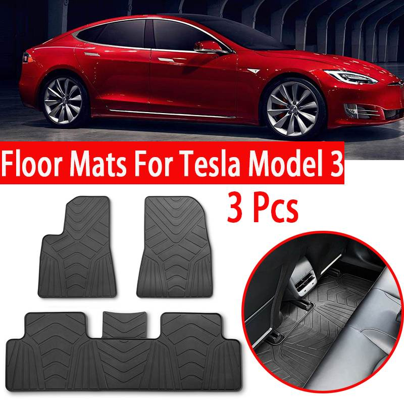 Autoleader imperméable tapis inodore en caoutchouc voiture tapis de sol pour Tesla modèle 3 2017-2019 pieds tampons Automobile tapis bâches de voiture