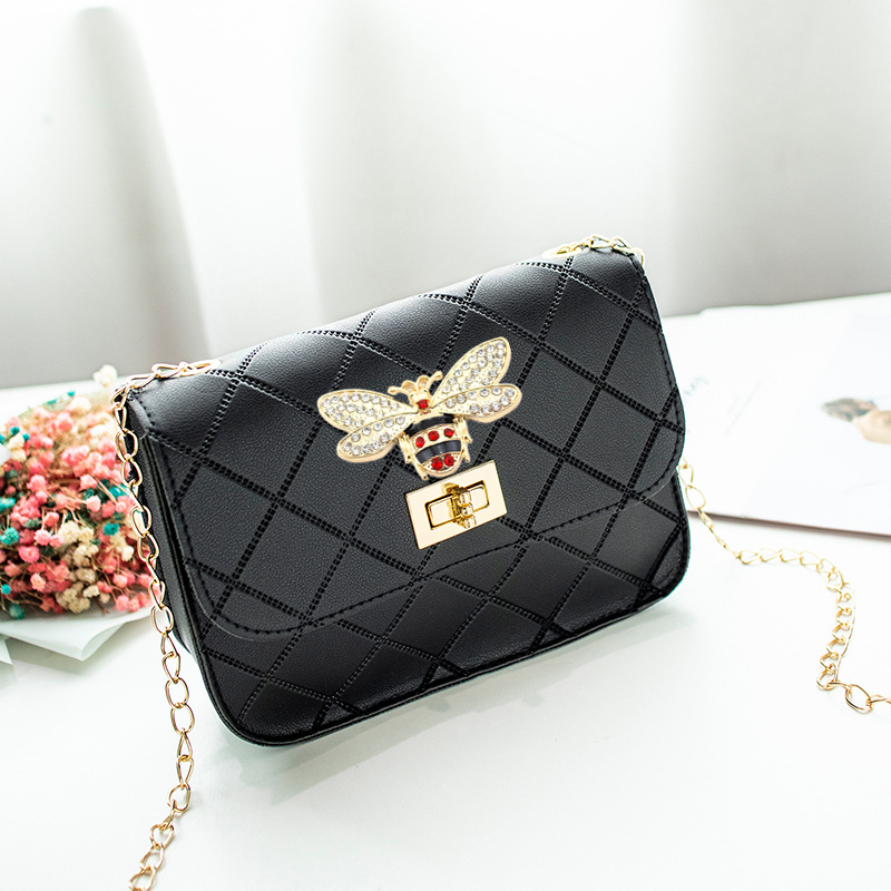 Bee Purse Shoulder Mini Bag Black Crossbody Handbag Coin Purse PU Luxury Brand Women Metal Chain Fashion Wallet Wholesale