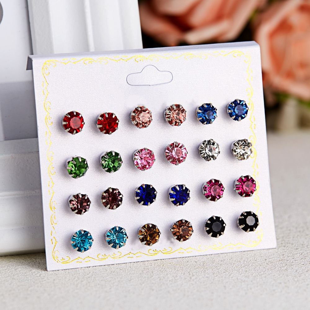 12 Pairs/set Stud Earrings Set With Card Transparent Zircon Balls Love Flowers Earrings Women Imulated Pearl Earrings Jewelry 64
