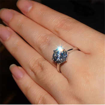Classic 4 Carat Solitaire Engagement Ring 6 Claws NSCD Ring for Women 925 Sterling Silver Wedding Ring