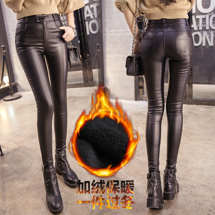 Fv1069 2019 New Autumn Winter Women Fashion Casual Popular Long Pants Leather Pants